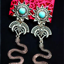 Betsey Johnson Fashion Cute Turquoise Sun Snake Vintage Jewelry Earrings Photo
