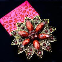 Betsey Johnson Fashion Glamour Jewelry Retro Crystal Flower Beautiful Brooch Pin Photo