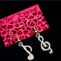 Betsey Johnson Fashion Jewelry Glamour Female Crystal Music Earrings Gift Photo