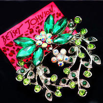 Betsey Johnson Fashion Women's Jewelry Beautiful Rhinestone Garland Charm Brooch Photo