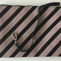 Betsey Johnson Flat Make Up Cosmetic Bag Clutch Wristlet Black Blush Stripe  Photo