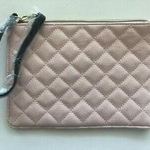 Betsey Johnson Flat Nude Blush Pink Black Quilted Wristlet Cosmetic Bag Purse Nw Photo