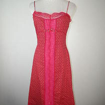Betsey Johnson Floral Red Lace Trim Beautiful Dress 8 Photo