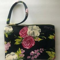 Betsey Johnson Floral Wristlet Navy Blue Faux Leather Cosmetic Bag New Photo