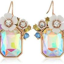 Betsey Johnson Flower Rectangle Stone Drop Earrings White Size One Size Vyhp Photo