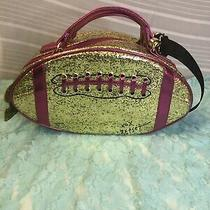 Betsey Johnson Gold Glitter Magenta Football Insulated Lunch Tote Bag Authentic Photo