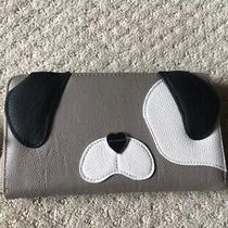 Betsey Johnson Gray Dog Face Wallet Luv Small Zip Around White Multi Puppy Photo