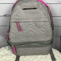 Betsey Johnson Gray Pink Quilted Hearts Large Backpack Floral Lining Photo