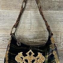 Betsey Johnson Green Felt Plaid Hobo Bag Leather Handle Photo