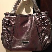 Betsey Johnson Gun Metal Metallic Leather Bow Hand Bag Photo