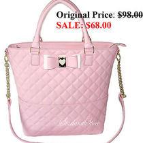 Betsey Johnson Handbag Be My Honey Blush Pink Shoulder Bag Diamond Quilted Tote  Photo
