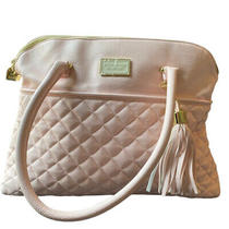 Betsey Johnson Handbag Blush Pink Quilted Heart Clip With Tassel Satchel Purse Photo