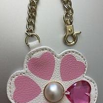 Betsey Johnson Hang Tag Purse Handbag 3d Flower Charm Faux Pearl Pink White E  Photo