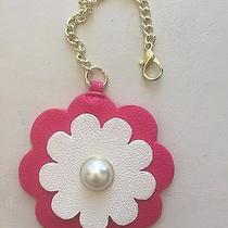 Betsey Johnson Hang Tag Purse Handbag 3d Flower Charm Fx Pearl Fuschia White E  Photo