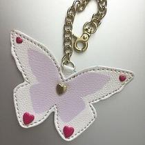 Betsey Johnson Hang Tag Purse Handbag Butterfly Charm Key Chain Pink White   Photo