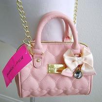 Betsey Johnson Hearts Be Mine Bow Blush Shoulder Crossbody Bag  Photo