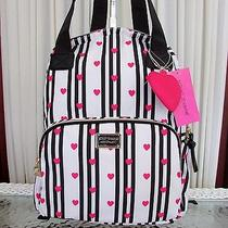 Betsey Johnson Hearts Stripes Backpack Tote School Travel Diaper Bag Nwt Photo