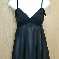 Betsey Johnson Intimates M Sheer Black Babydoll Dress Pajama Bow & Ruffle Detail Photo