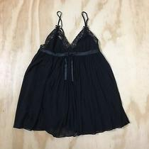 Betsey Johnson Intimates Sheer Black Lace Top Pleated Babydoll Lingerie Size M Photo