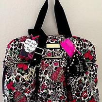 Betsey Johnson Junk in the Trunk Pink Black Weekender Cargo Travel Tote Bag Nwt Photo