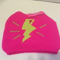 Betsey Johnson Kids Lightning Bolt Winter Hat Bright Pink Sz Medium Photo