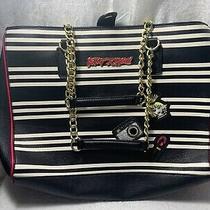 Betsey Johnson Ladies Fashion Purse Black White Stripe Hot Pink Handbag Bag Photo