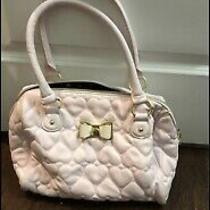 Betsey Johnson Large Dome Blush Pink Quilted Hearts Satchel Handbag Photo