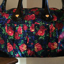 Betsey Johnson Large Satchel Painted Garden Blue Handbag Nwt Photo
