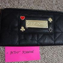 Betsey Johnson Large Wallet Black Fuax Leather Gold Plaque Named  Nwt Photo