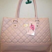 Betsey Johnson Lbcammi Blush Embroidered Hearts Designer Quilted Tote / Satchel Photo