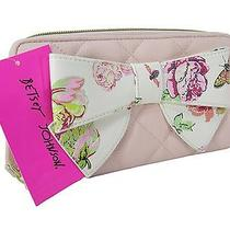 Betsey Johnson Logo Zip Around Wallet Purse Hand Bag Blush Pink Floral Bow Nwt Photo