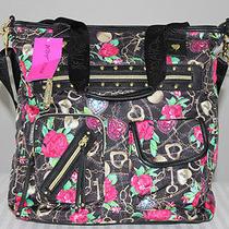Betsey Johnson Love Black Tote Handbag Bag Photo
