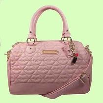 Betsey Johnson Love Blush Pink Quilted Leather Satchel Bag Msrp 108.00 Photo