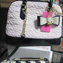 Betsey Johnson Medium Bowler Satchel in Blush Handbag Purse & Bonus Wallet   Photo