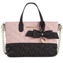 Betsey Johnson Mini Tote Blush Pink & Black Handbag Nwt 78 Photo