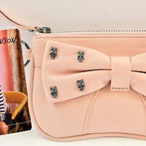 Betsey Johnson Mini Wristlet Hematite Skulls Bow Tied Top Zip in Color Blush  Photo
