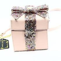 Betsey Johnson New Pink Blush Sequin Box Present Women's Cross Body Purse 68- Photo