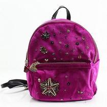 Betsey Johnson New Pink Velvet Sequined Medium Designer Backpack Bag 118- 008 Photo