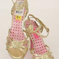 Betsey Johnson Nwt 122.50 Sz 6.5 Gold Leather Dalton Strappy Sandal (B348) Photo