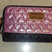 Betsey Johnson Nwt Zip Around Clutch Wallet Puffy Heart Black & Blush  Photo