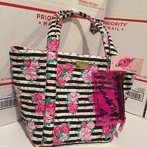 Betsey Johnson Parker Quilted Cotton Tote Shopper Pink Rose Black White Stripes Photo