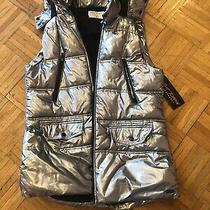 Betsey Johnson Performance Hooded Puffer Vest Metallic Silver Zip Up Sz L Nwt Photo