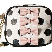 Betsey Johnson Petite Chic Blush Pink Bows Black Dots Camera Crossbody Bag Nwt Photo