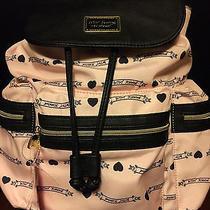 Betsey Johnson Pink Backpack Banner Tote Shoulder Travel School Bag Blush New Photo