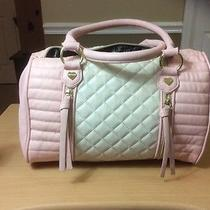 Betsey Johnson  Pink & Blush Quilted Pu Leather Satchel Bag Purse Photo
