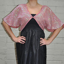 Betsey Johnson Pink Blush Sequin Polyester Bolero Shrug Jacket S Nwt Photo