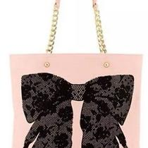 Betsey Johnson Pink Blush Shopper Large Tote Black Flock a Bow Bag Nwt 100% Auth Photo