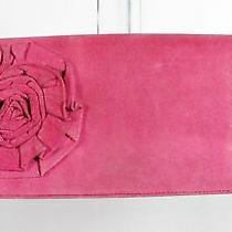 Betsey Johnson Pink Leather Women's Rose Embellished Zip Wallet Pouch Clutch Bag Photo
