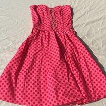 Betsey Johnson Pink With Red Polkadot Corset Dress Sz 8 Photo