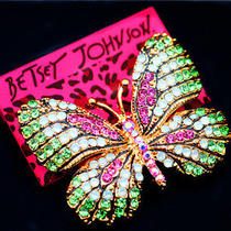 Betsey Johnson Pretty Fashion Jewel Female Crystal Butterfly Cute Brooch Pin Photo